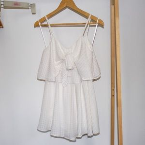Sweet Pot White Romper Playsuit Size 8 Bow Front Ruffle Sleeveless
